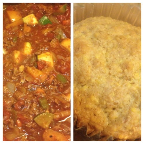 Vegan cornbread and chili